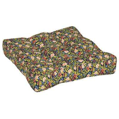 Artisans 25 in. x 25 in. Cecelia Floral Circle Sew Outdoor Floor Cushion