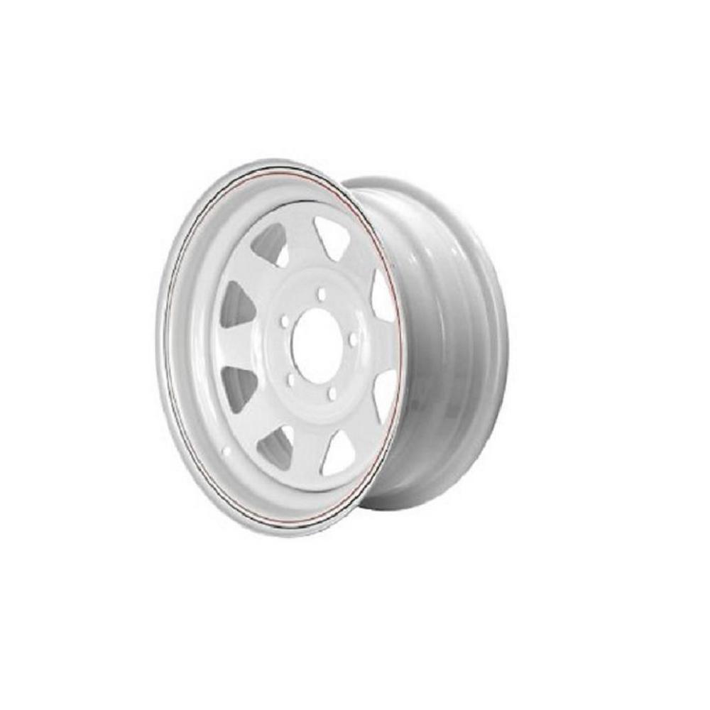2040 lb. Load Capacity White with Stripe Eight Spoke Steel Wheel Rim