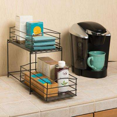 7.5 in. W x 13 in. x 14 in. 2-Tier Basket Cabinet Organizer in Bronze