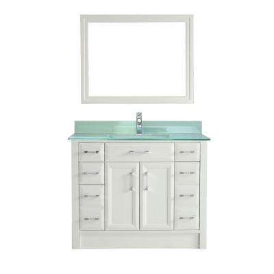 Calais 42 in. Vanity in White with Glass Vanity Top in Mint and Mirror