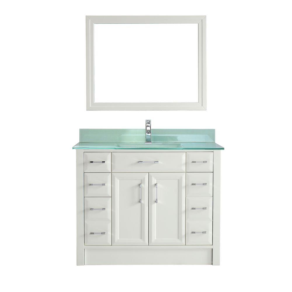 Studio Bathe Calais 42 in. Vanity in White with Glass Vanity Top in Mint and Mirror