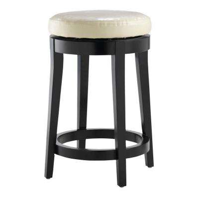 24 in. Black Swivel Cushioned Bar Stool