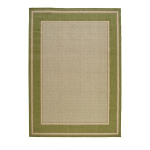 Border Tan/Green 8 ft. x 11 ft. Indoor/Outdoor Area Rug