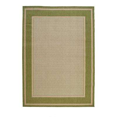 Border Tan/Green 7 ft. 7 in. x 10 ft. 10 in. Indoor/Outdoor Area Rug