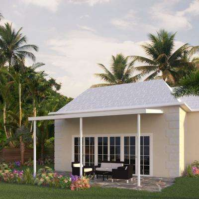 8 ft. x 14 ft. White Aluminum Attached Solid Patio Cover with 3-Posts Maximum Roof Load 30 lbs.