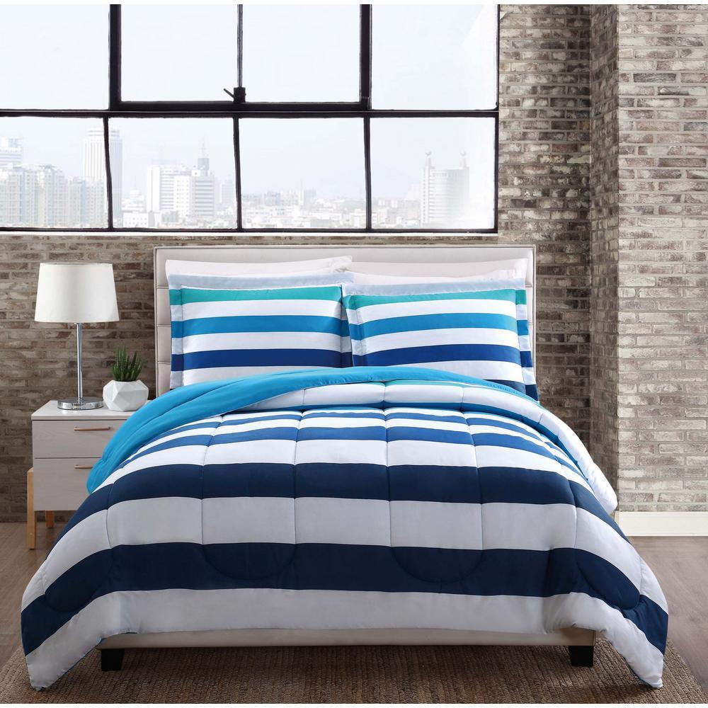 Style 212 Montauk Stripe Multi Color Twin Comforter Set