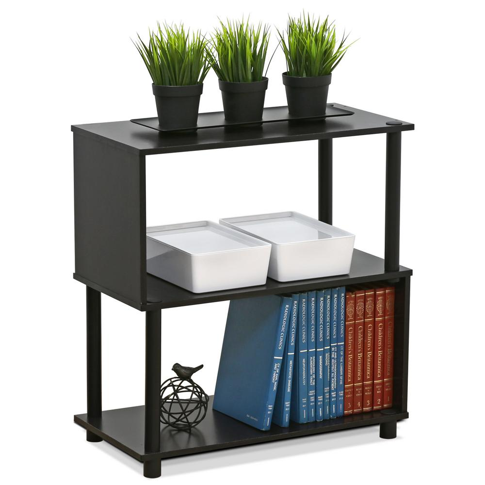Flexi Espresso Modern Design 2-Shelf Open Bookcase