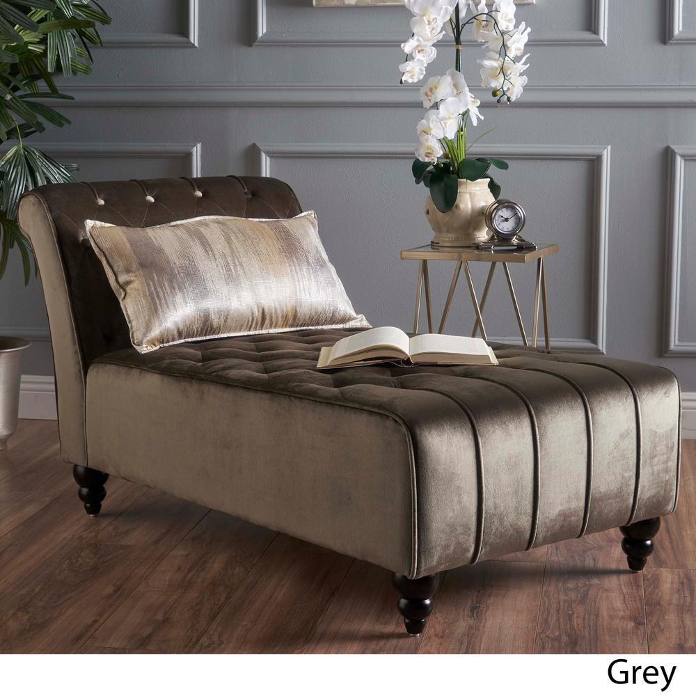 NobleHouse Noble House Gray New Velvet Tufted Chaise Lounge