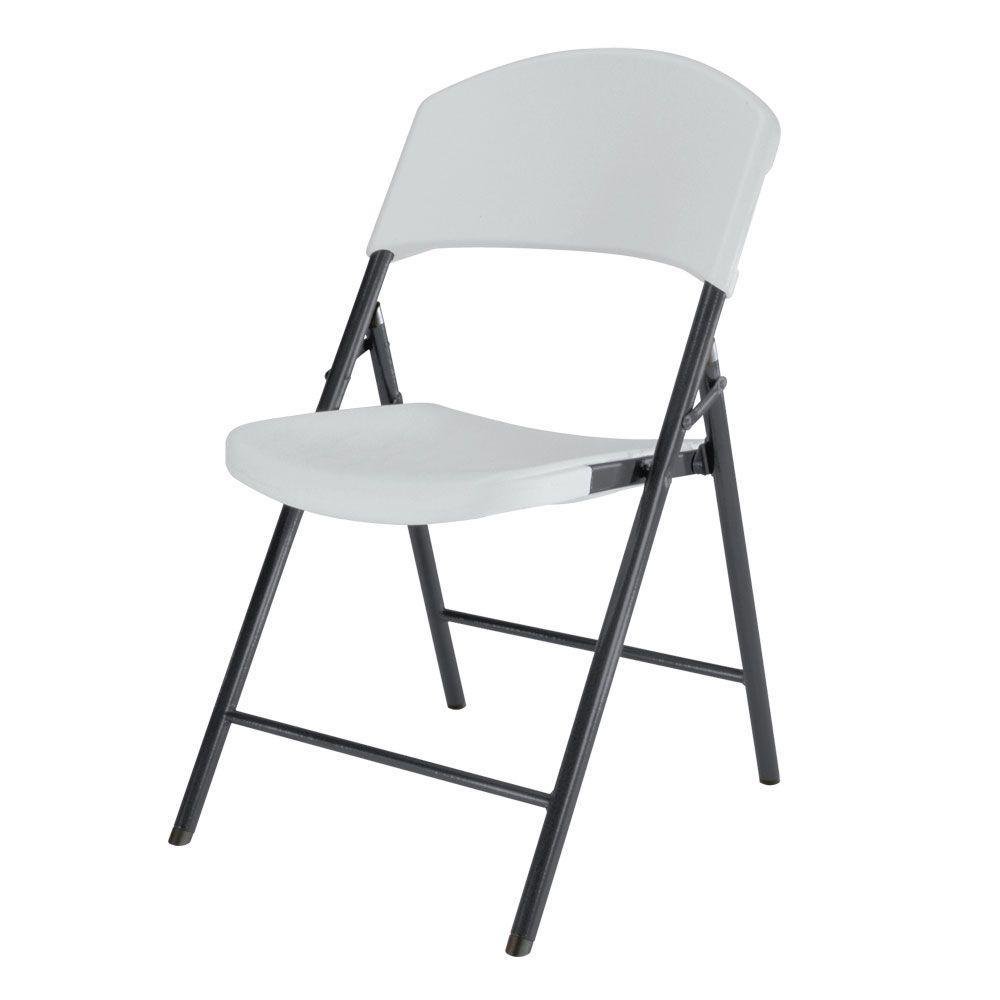 Enjoyable Lifetime White Plastic Seat Metal Frame Outdoor Safe Folding Chair Set Of 4 Interior Design Ideas Apansoteloinfo