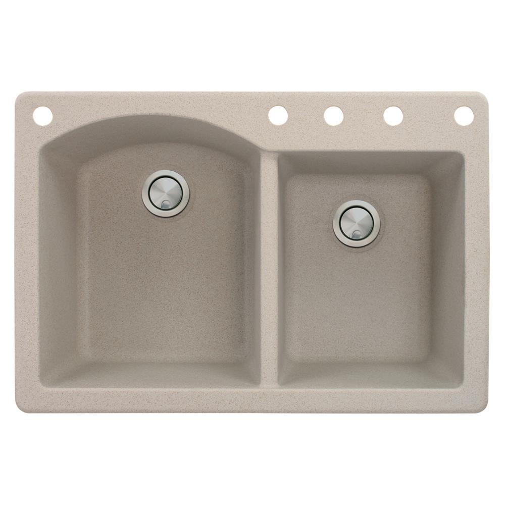 Aversa Drop-In Granite 33 in. 5-Hole 1-3/4 D-Shape Double Bowl Kitchen Sink in Cafe Latte