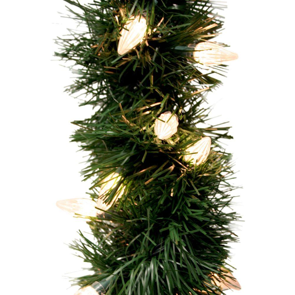 GE 18 ft. Holiday Classics Artificial Garland with 50 C6 Clear Lights