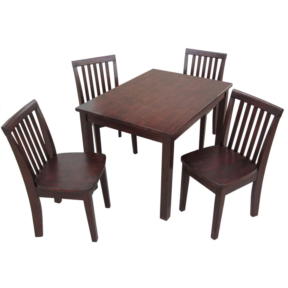 5-Piece Mocha Childrenu0027s Table and Chair Set  sc 1 st  The Home Depot : childrens table chairs sets - pezcame.com