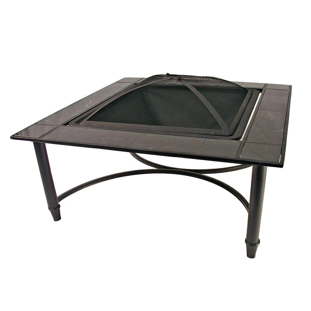 Catalina Creations Black Marble Tile Fire Pit