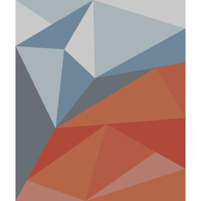 Geometric Blue Red - 88 in. x 104 in. Tapestry