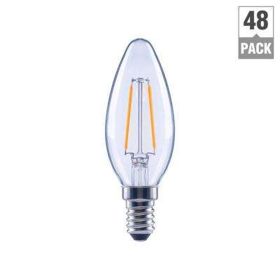25-Watt Equivalent B11 Candle Dimmable Energy Star Clear Glass Filament Vintage LED Light Bulb Soft White (48-Pack)