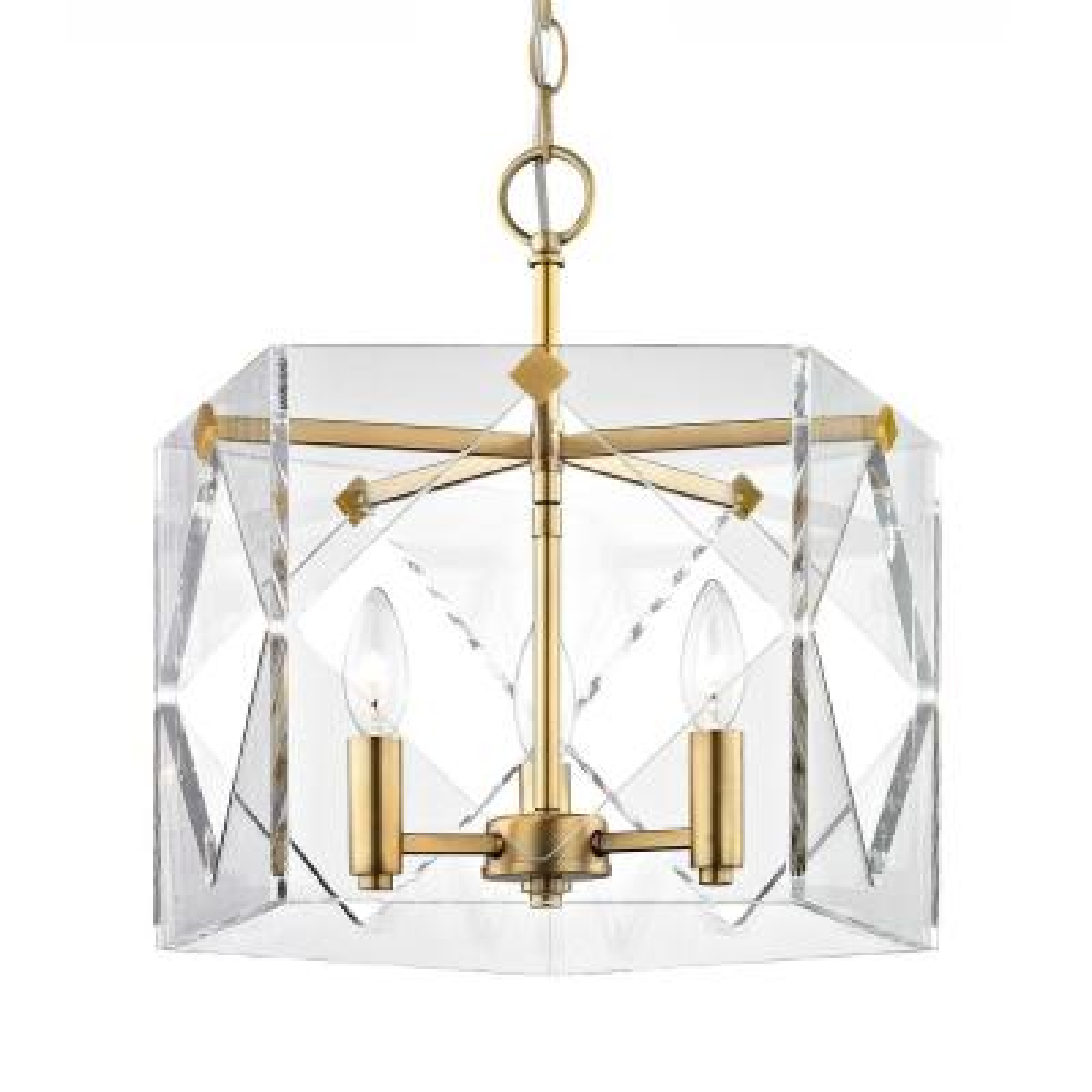 Pentos 3-Light Aged Brass Acrylic Chandelier