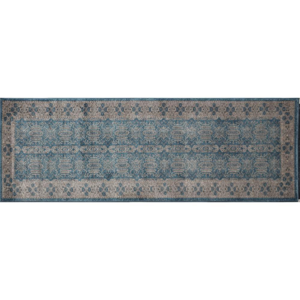 Evelyn Seafoam Ivory Blue 2  ft. 2 in. x 7  ft. 6 in. Rectangular Runner