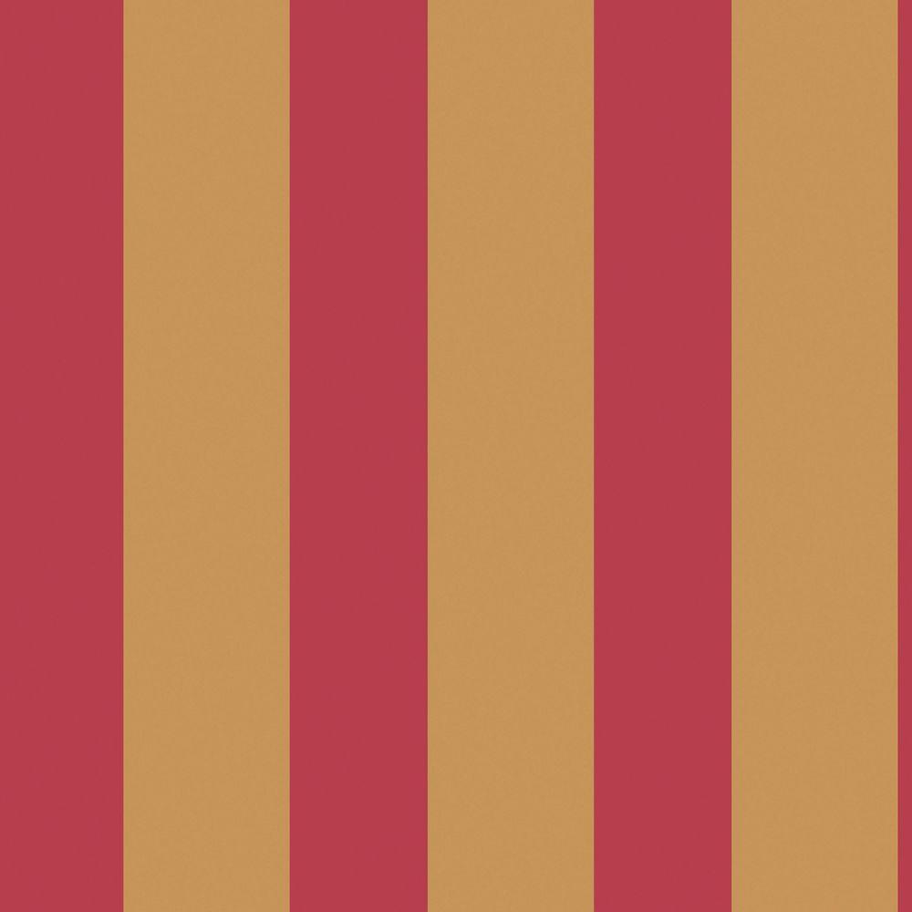 The Wallpaper Company 56 sq. ft. Red Large Scale Stripe Wallpaper