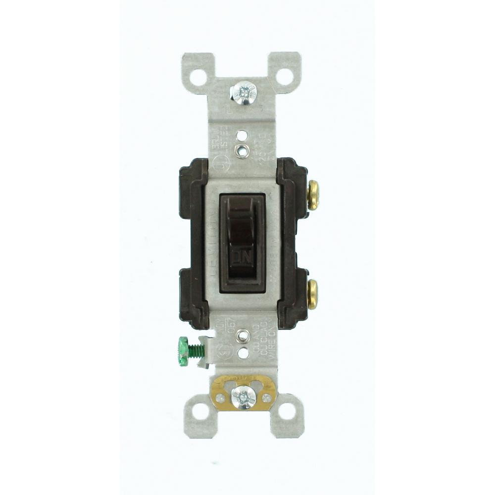 Leviton 15 Amp Single-Pole Quiet Toggle Switch, Brown