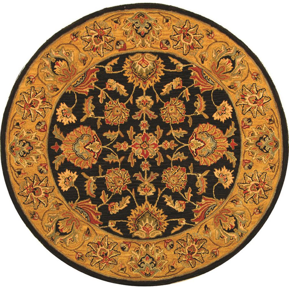 Large Area Rugs Gold: Safavieh Heritage Charcoal/Gold 8 Ft. X 8 Ft. Round Area