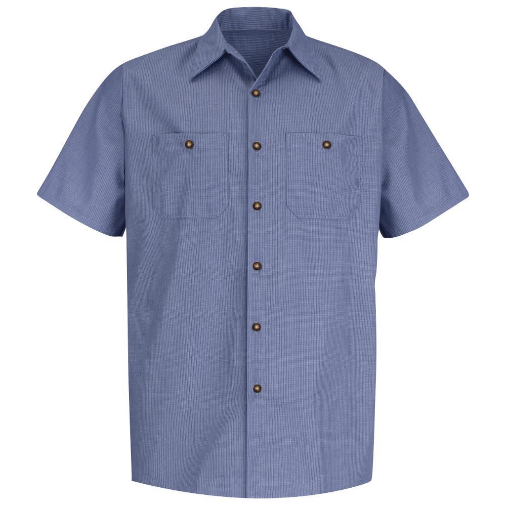 Men's Size XL Denim Blue Microcheck Geometric Micro-Check Work Shirt