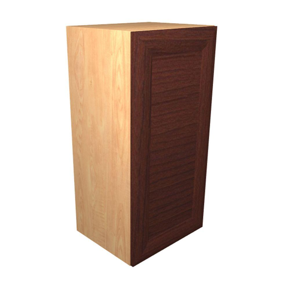 Home Decorators Collection Dolomiti Ready to Assemble 15 x 38 x 12 in. Wall Cabinet with 1 Soft Close Doors in Cherry, Cherry Melamine