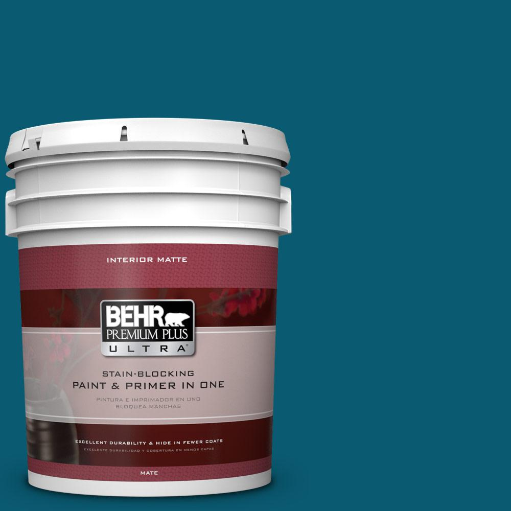 BEHR Premium Plus Ultra 5 gal. #540D-7 Deep Blue Sea Flat/Matte Interior Paint