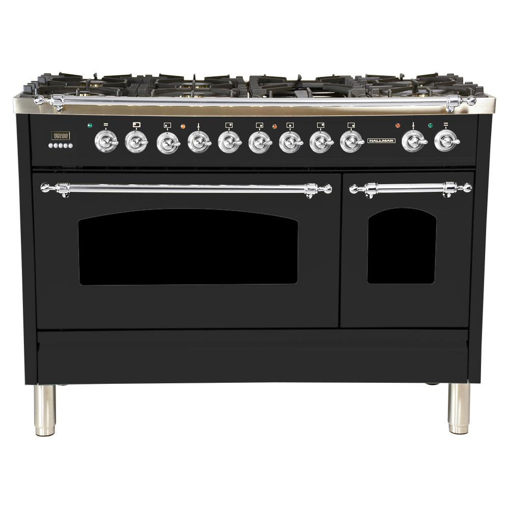 Hallman 48 in. 5.0 cu. ft. Double Oven Dual Fuel Italian Range True Convection, 7 Burners, Griddle,Chrome Trim in Matte Graphite