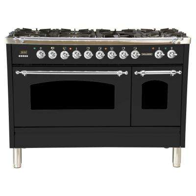 48 in. 5.0 cu. ft. Double Oven Dual Fuel Italian Range True Convection, 7 Burners, Griddle,Chrome Trim in Matte Graphite