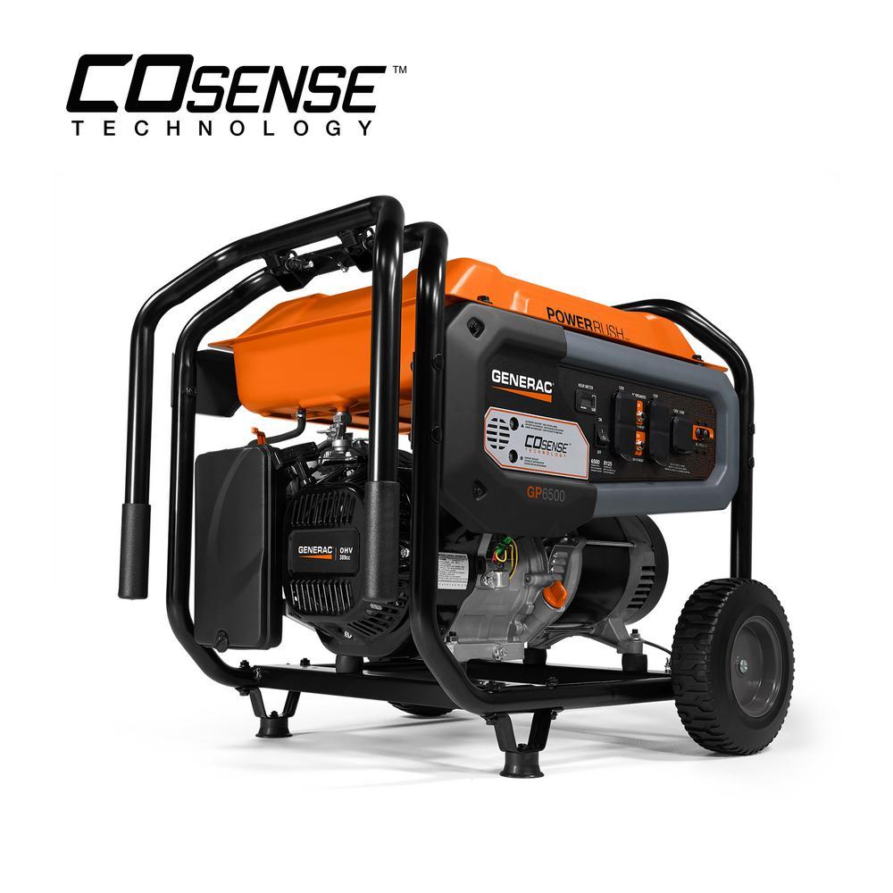 GP6500- 6500-Watt Gasoline Powered Portable Generator with CO-Sense 50/CSA
