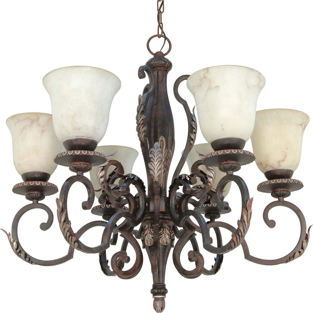 Glomar Cipriani Garnet Bronze 6 Light Chandelier With Marbleized Glass-DISCONTINUED