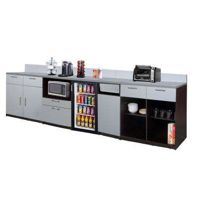 Coffee Kitchen Espresso / Silver Sideboard with Lunch Break Room Functionality with Assembled Commercial Grade 3400