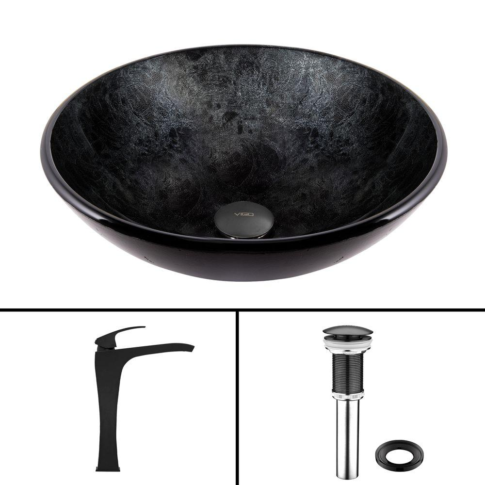 VIGO Glass Vessel Sink in Gray Onyx and Blackstonian Faucet Set in ...