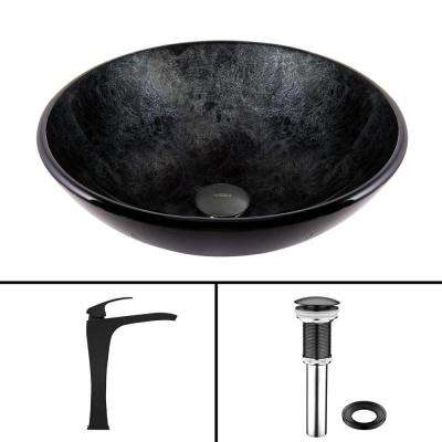 Glass Vessel Sink in Gray Onyx and Blackstonian Faucet Set in Matte Black