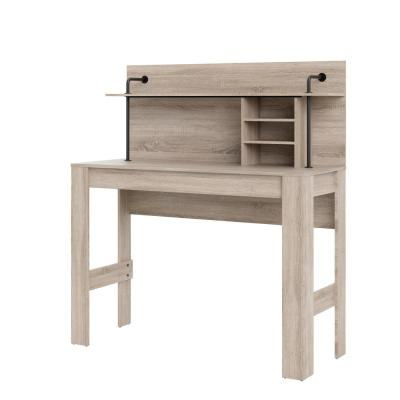 59 in. Rectangular Truffle Standing Desk with Hutch
