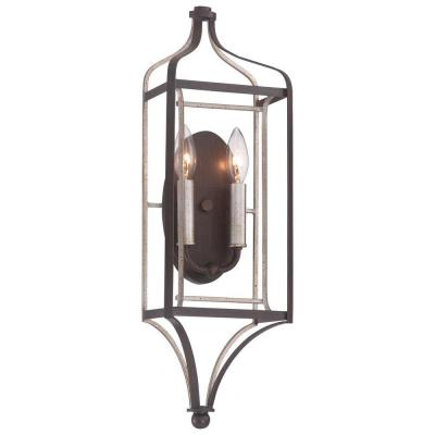 Astrapia 2-Light Dark Rubbed Sienna with Aged Silver Sconce