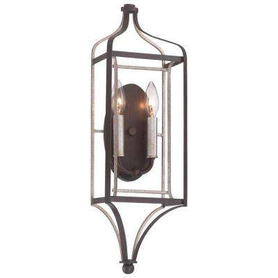 Astrapia 2 Light Dark Rubbed Sienna With Aged Silver Sconce