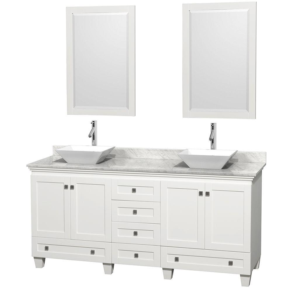 Wyndham Collection Acclaim 72 In W Double Vanity White With Marble Top Carrara Sinks And 2 Mirrors