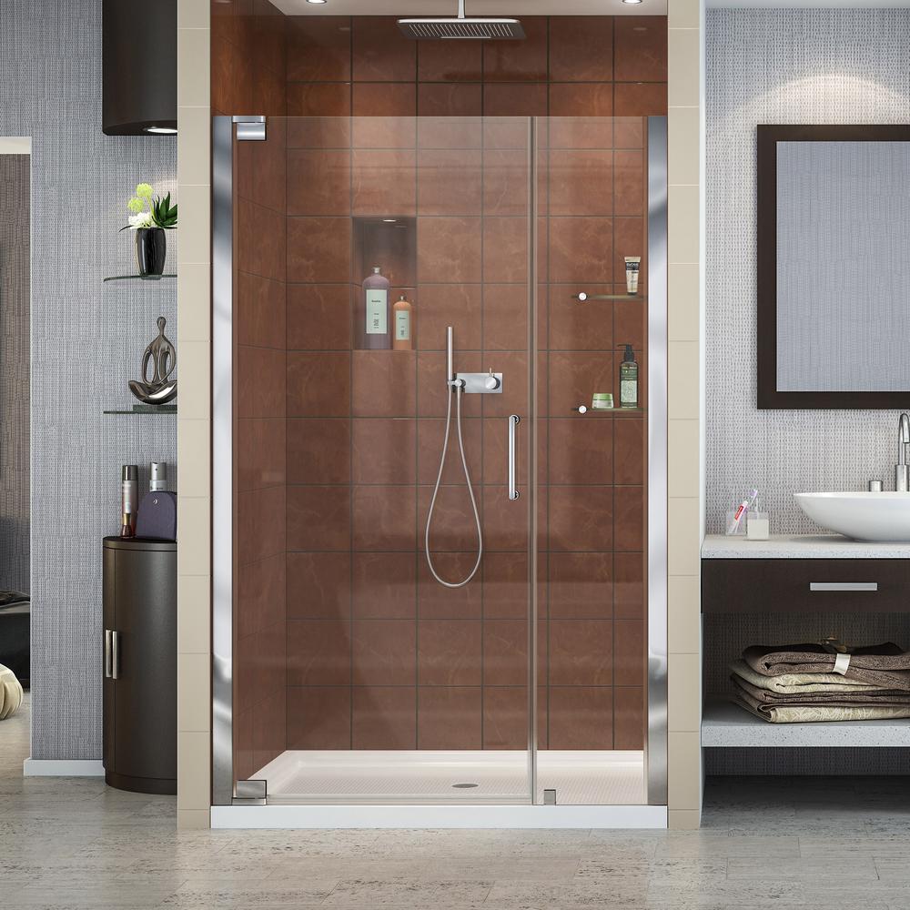 Dreamline Elegance 44 1 4 In To 46 1 4 In X 72 In Semi Frameless Pivot Shower Door In Chrome Shdr 4144720 01 The Home Depot