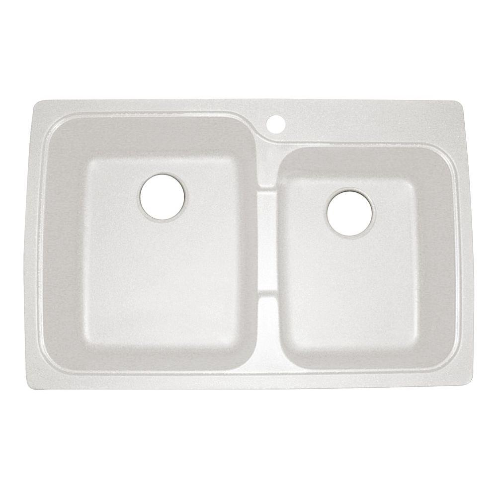 Offset Drop in Dual Mount Granite 33 in. 1-Hole Double Bowl
