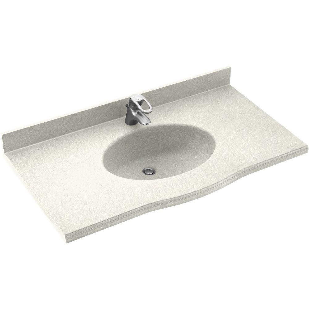 Swanstone Europa 43 In W X 22 5 In D Solid Surface Vanity Top With Sink In Bisque Ev1b2243 018