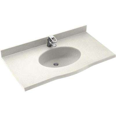 Europa 43 in. Solid Surface Vanity Top with Basin in Bisque