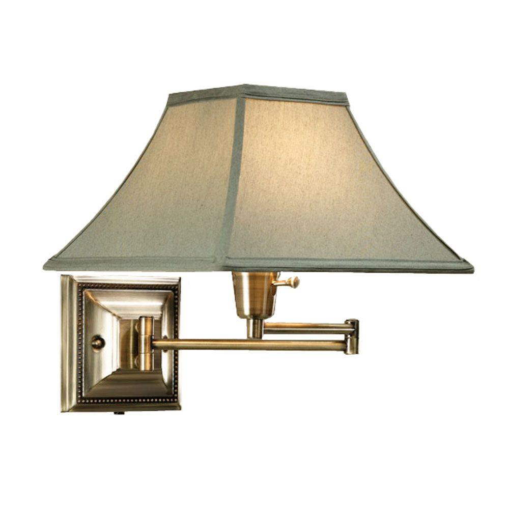 Home Decorators Collection Distressed/Antique Brass Kingston Swing-Arm Pin-up Lamp