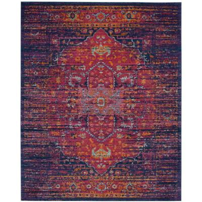 Evoke Blue/Fuchsia 8 ft. x 10 ft. Area Rug