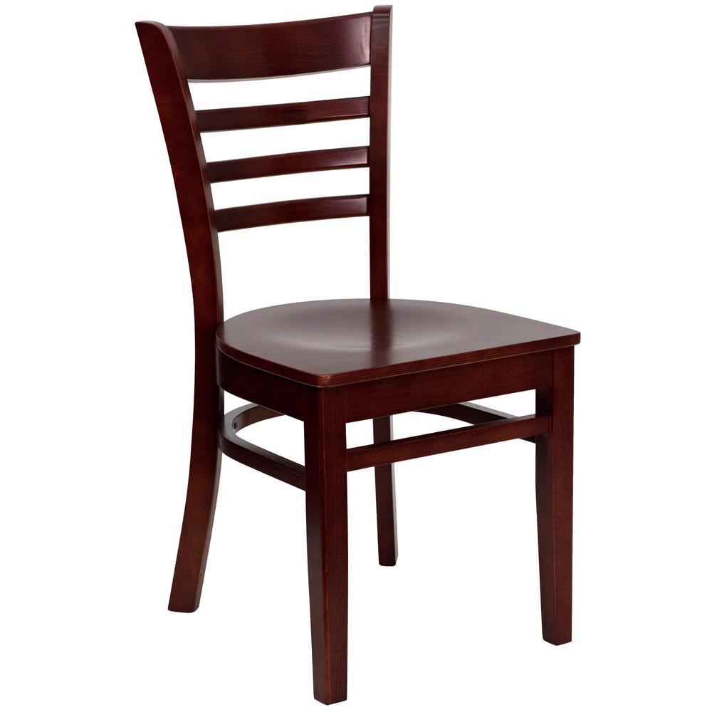 Hercules Mahogany Wood Seat/Mahogany Wood Frame Side Chair