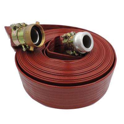 3 in. Dia. x 100 ft. Red 10 Bar High Pressure Lay Flat Hose with Connectors