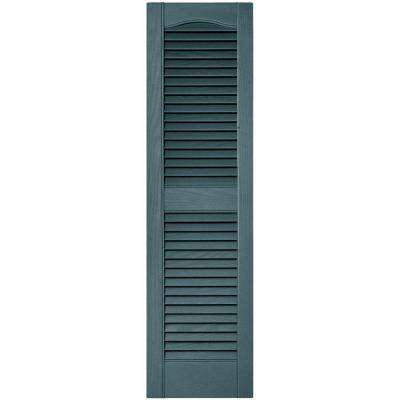 12 in. x 43 in. Louvered Vinyl Exterior Shutters Pair in #004 Wedgewood Blue