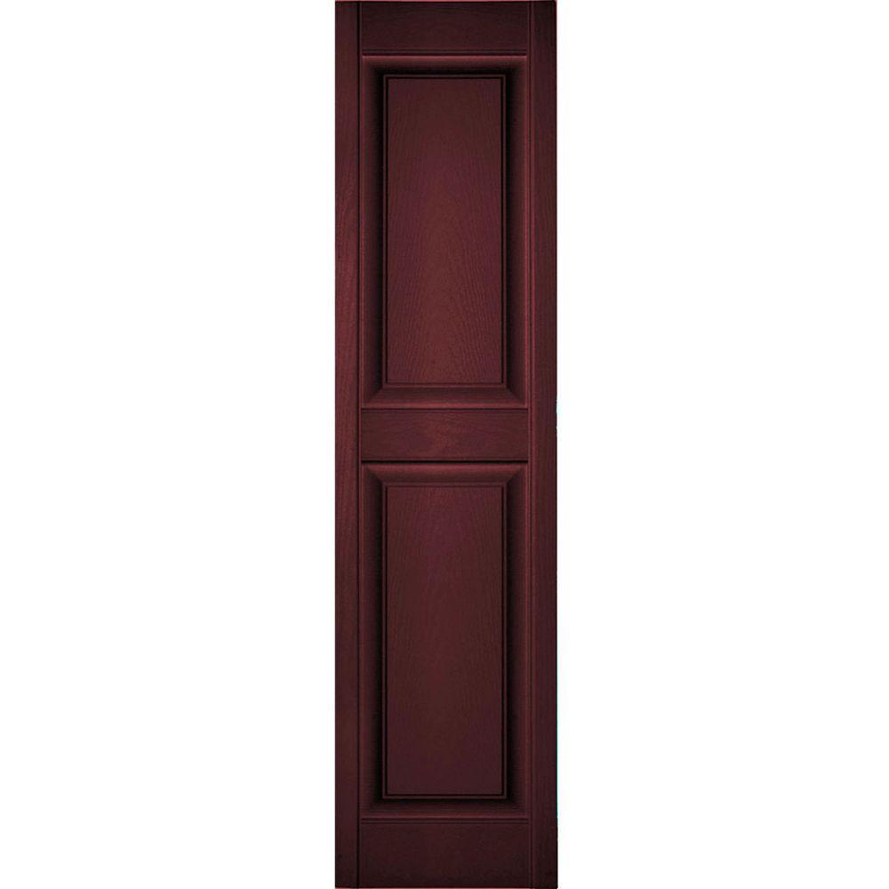 Ekena Millwork 18 in. x 93 in. Lifetime Vinyl Custom 2 Equal Raised Panel Shutters Pair Bordeaux (Red)