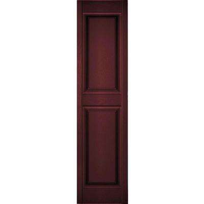 14-3/4 in. x 59 in. Lifetime Vinyl Standard 2 Equal Raised Panel Shutters Pair Bordeaux