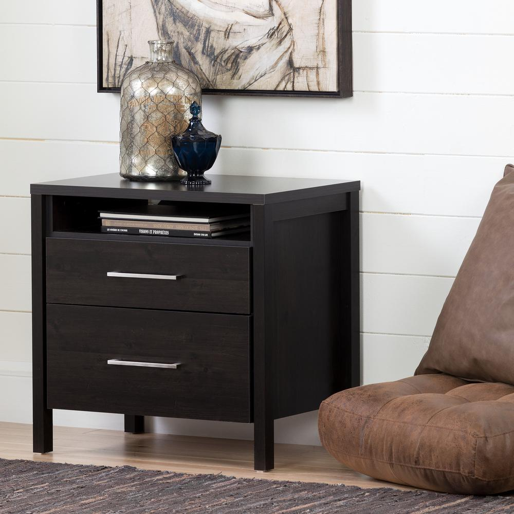 South Shore Gravity 2 Drawer Ebony Nightstand 3577060   The Home Depot
